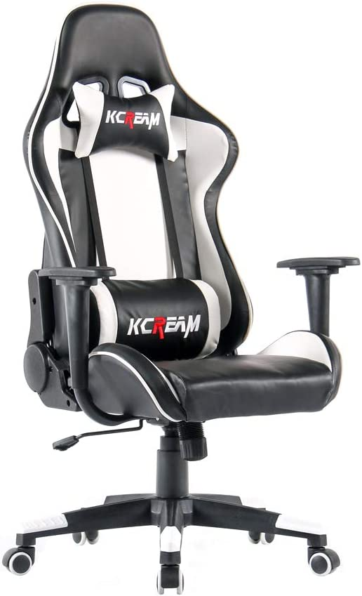 KCREAM Gaming Chairs High Back Computer Chair of Professional Racing Style Comfortable Gamer Chair with Headrest and Lumbar Pillows White-03