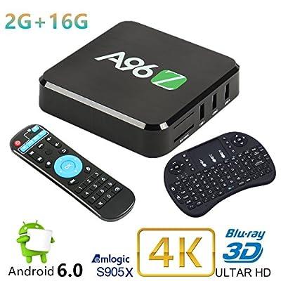 Android 6.0 Marshmallow Mini PC Jabond A96Z 4K TV Box 2G RAM 16G eMMC S905X Quad Core Super Fast Dual WIFI 2.4Ghz/5Ghz Bluetooth 4.0 Smart Blu-ray PC Media Player with Wireless Mini Keyboard