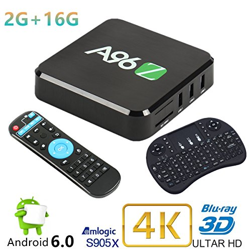 Android 6.0 Mini PC Jabond A96Z Set Top TV Box 2G RAM 16G eMMC S905X Quad Core Super Fast Dual WIFI 2.4Ghz/5Ghz Bluetooth 4.0 Smart Blu-ray PC Media Player with Wireless Mini Keyboard