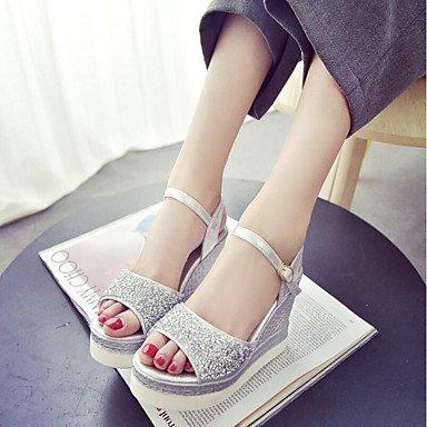 RUGAI-UE Moda de Verano Mujer sandalias casuales zapatos de tacones PU Confort,Blue,US7.5 / UE38 / UK5.5 / CN38 Silver