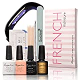 Luxfy(TM) Manicure Kit 4 Colors UV Gel LED Lamp French Nail Art Set