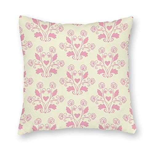 DKISEE Decorative Pink Toile Floral Square Throw Pillow Cover Canvas Pillow Case Sofa Couch Chair Cushion Cover for Home Decor
