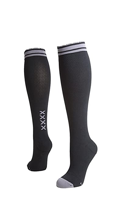 2bf50c1a43 Lily Trotters Women's Designer Athletic Compression Socks - Four Kisses  Black ...