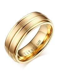 Mealguet Jewelry Men's 8mm Titanium Groove Step Edge Matt Finish Wedding Engagement Ring Band