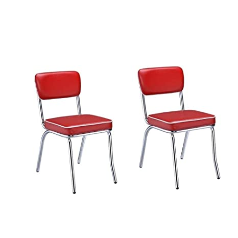Admirable Amazon Com Mid Century Modern Red Faux Leather Chrome Camellatalisay Diy Chair Ideas Camellatalisaycom