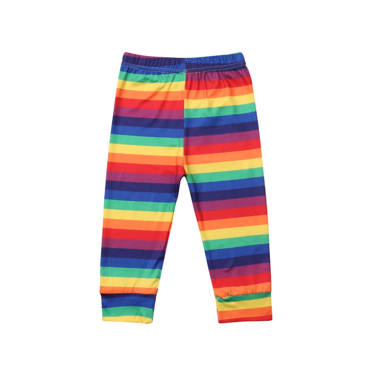 Baby Kids Girls Rainbow Print Long Pants Color Stripe Pattern Leggings 2-7Years (5-6Y, Color)