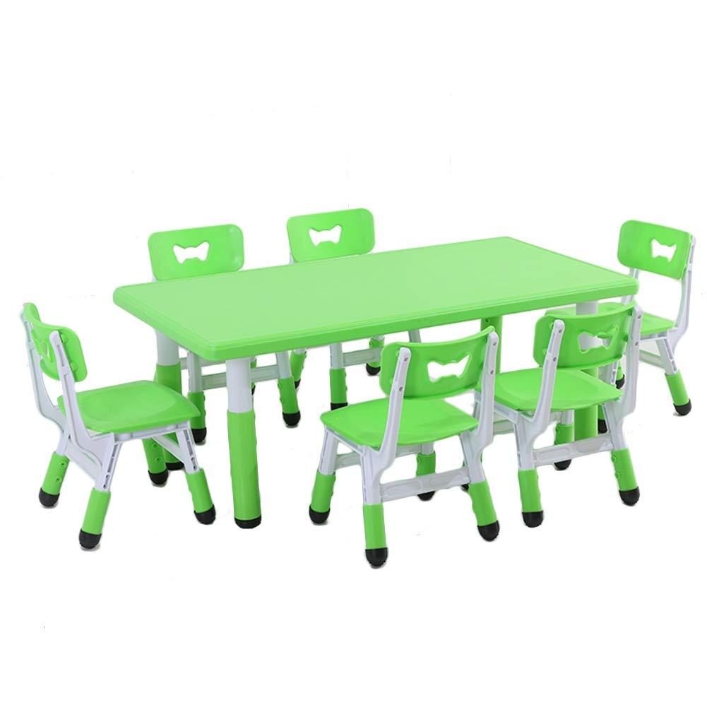 vert-f  ZHAOHUI-Ensembles Table et Chaise pour Enfants Jardin d'enfants Hauteur Réglable Durable Facile à Nettoyer Ensemble Table Et Chaises Jeu Lis 2-10 Ans, 4 Couleurs (Couleur   vert-A)