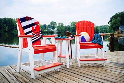 Furniture Barn USA Adirondack Outdoor Balcony Set - Red and White Poly Lumber - Recycled ()