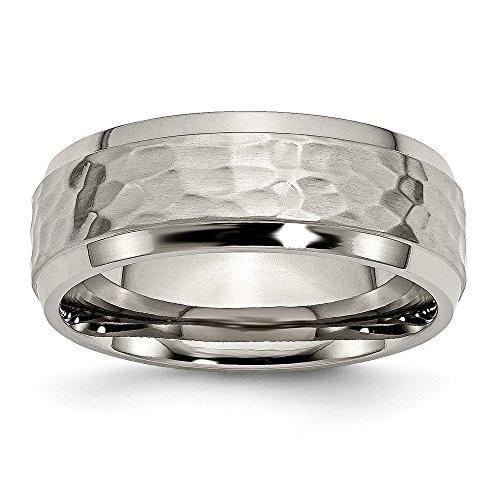 Hammered Wedding Ring (Size 11 - Titanium 8mm Beveled Edge, Hammered and Polished Wedding Band)