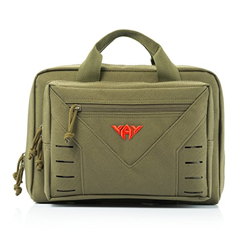 YAKEDA Tactical Shooting Gun Range Bag Tactical Pistol Range Go Bag -A88080 (Green) (Pistol Range)