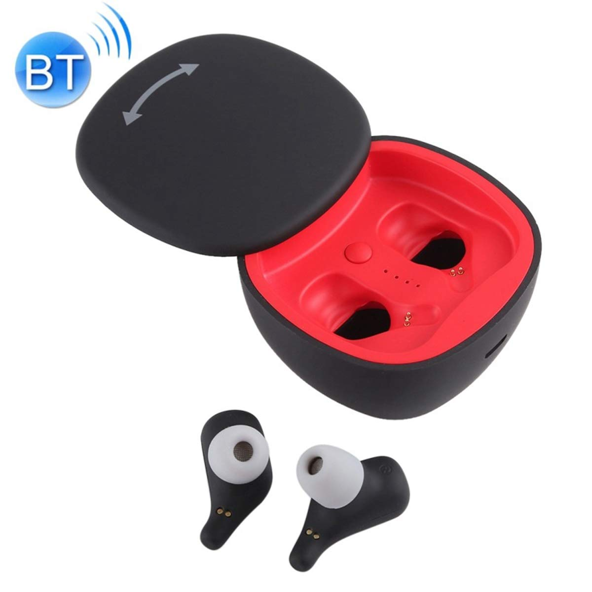 POPUPE A2 TWS Outdoor Sports Portable in-Ear Bluetooth V5.0 + EDR Earphone with 360 Degree Rotation Charging Box (Black)