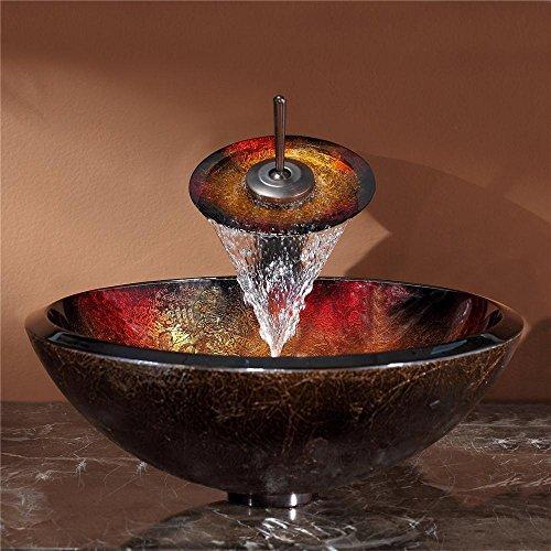 new Kraus GV-680-19mm-ORB Mercury Glass Vessel Bathroom Sink with PU-MR Oil Rubbed Bronze