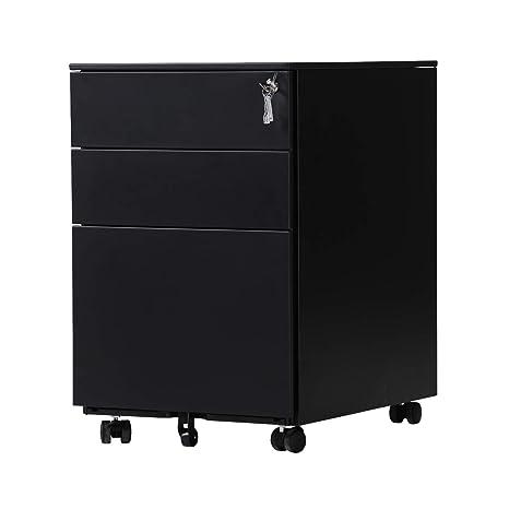 OFITURIA ® Archivador Metálico Negro con Cerradura para Oficina, Cajonera con Ruedas, 3 Cajones, Viene Montado 52x39x60 cm