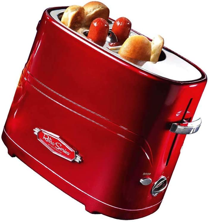 Hot Dog and Bun Toaster, With Mini Tongs, Works With Chicken, Turkey, Veggie Sausages and Brats, Pack of 1, Retro Red (Limited Edition)