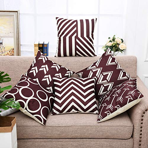 - Yinnazi Modern Geometric Pattern Throw Pillow Covers Square Cushion Case for Couch Decorative Pillowcase for Home Decor Set of 6 Solid Color Brown