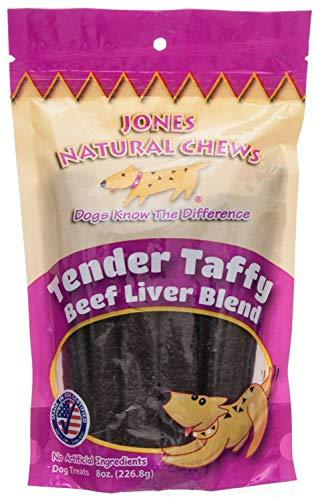 Jones Natural Chews Tender Taffy Dog Treats, Beef Liver Blend, 8 Ounce, 12 Pack