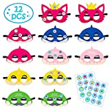 MALLMALL6 12Pcs Little Shark Masks Set Shark Party Favors Children Cosplay Soft Mask Half Masks Birthday Themed Party Masks with Cute Shark Stickers Felt Masks for Kids Boys Girls