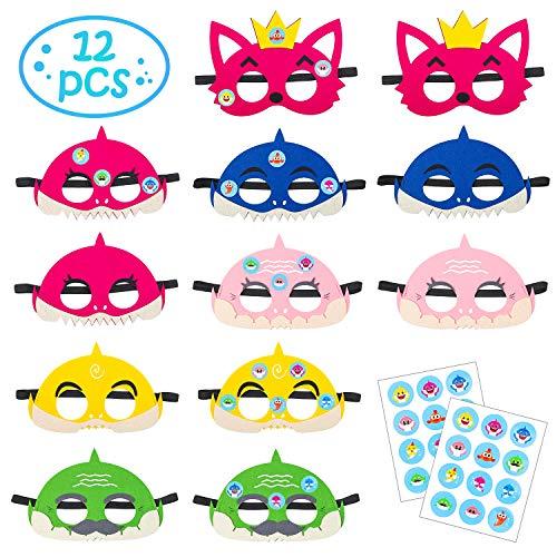 MALLMALL6 12Pcs Little Shark Masks Set Shark Party Favors Children Cosplay Soft Mask Half Masks Birthday Themed Party Masks with Cute Shark Stickers Felt Masks for Kids Boys Girls]()