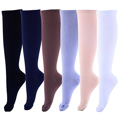 Eswala Compression Socks Foot Long Stockings High Graduated Anti Fatigue Varicose Veins Socks For Men Women Supports Sport Running Cycling Football Slim Leg Travel Medical 6pairs (S/M, Assort 1)