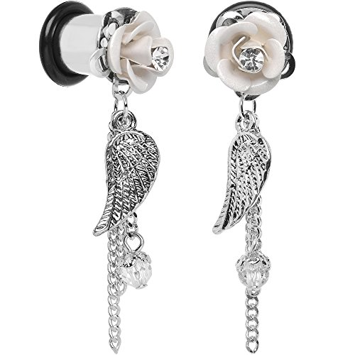 Body Candy Stainless Steel Clear Accent White Acrylic Rose Wing Dangle Ear Gauge Plug 0 Gauge Set of 2