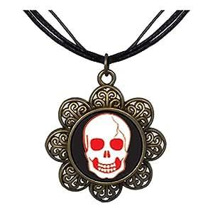 Chicforest Bronze Retro Style Halloween Skull Bone Sun Flower Pendant