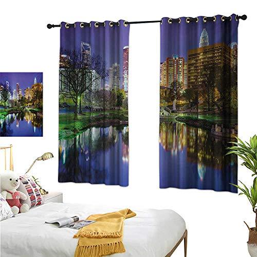 Warm Family Curtain Set City,North Carolina Marshall Park United States American Night Reflections on Lake Photo,Multicolor 72