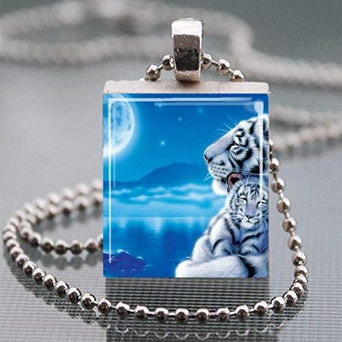 - White Tiger Cub Scrabble Tile Pendant Necklace Handmade Wearable Art Jewelry