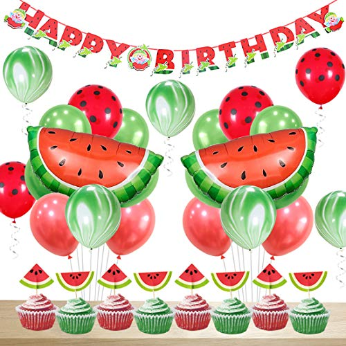 Watermelon Party Decorations Birthday for Girls Happy Birthday Banner Watermelon Agate Polka Dot Balloons Cupcake -