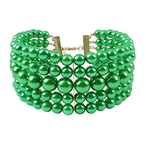 KOSMOS-LI Multi Layer Faux Green Pearl Chokers Necklaces