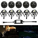 FVTLED Pack of 10 Warm White Low Voltage LED Deck lights kit Φ1.38'' Outdoor Garden Yard Decoration Lamp Recessed Landscape Pathway Step Stair Warm White LED Lighting, Black