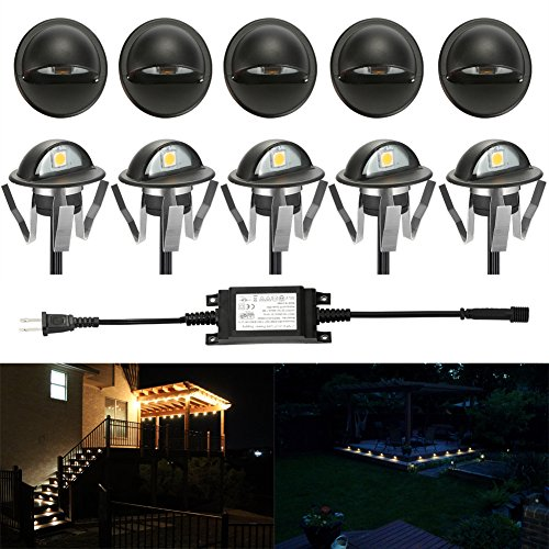 (FVTLED Pack of 10 Warm White Low Voltage LED Deck lights kit Φ1.38