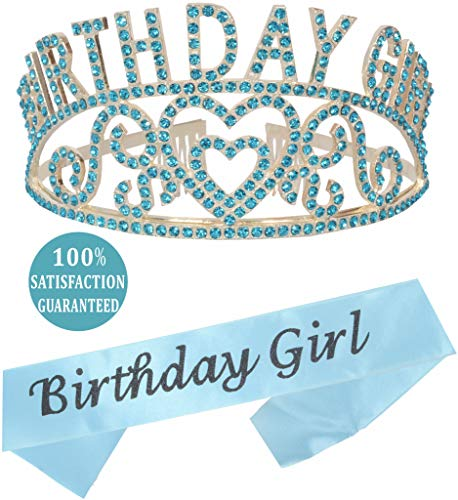 (MEANT2TOBE Birthday Girl Sash and Tiara, Birthday Girl Sash and Crown, Happy Birthday Party Supplies, Favors, Decorations 13th, 16th, 21st, 30th, 40th, 50th, 60th, 70th, 80th, 90th Birthday (Blue))