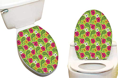 cal Sticker Bright Floral Pattern with Vivid Paisley Print Old Vintage Boho Style Pistachio Toilet Seat Lid Cover Decals Stickers 13