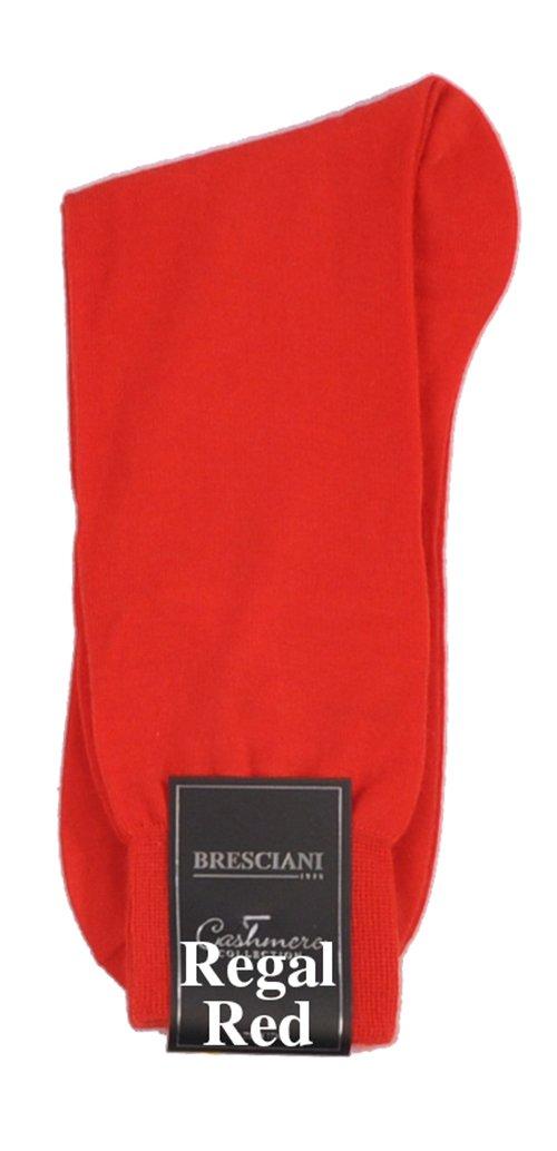 Bresciani Men's 100% Pure Cashmere Crew Dress Socks-1 Pair Regal Red