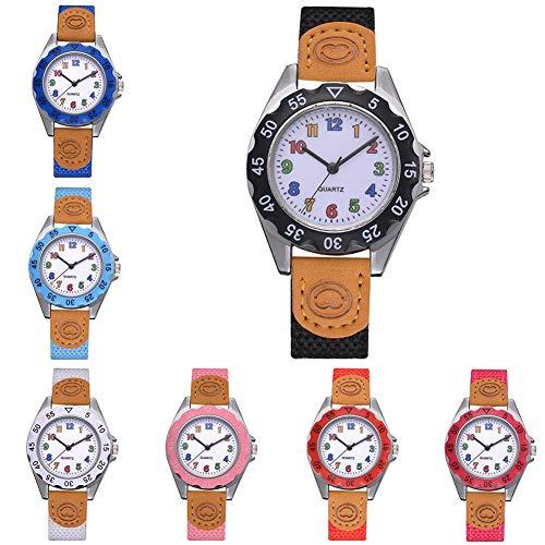 Fashion Children Kids Arabic Numbers Nylon Band Wristwatch Analog Quartz Watch Wrist Studens Watches by Gaweb (Image #1)