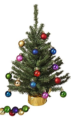 Holiday Essentials 18 Inch Decorated Tabletop Christmas Tree - Includes 20 Multi Color Ornaments! (Green)