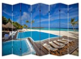 6 & 8 Panel Folding Screen Canvas Room Divider- Poolside Cabana (8 Panels)