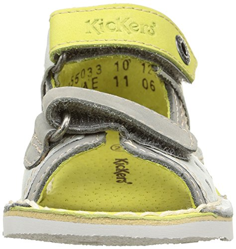 Kickers Wasabi Bis - Zapatos de primeros pasos Bebé-Niñas Gris - Gris (Gris Clair/Citron)