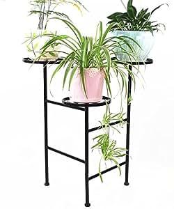 Racks de flores de hierro Retro tienda de ropa creativa exhibición soporte de flores de pote negro y blanco ( Color : A , Tamaño : 38*38*77cm )