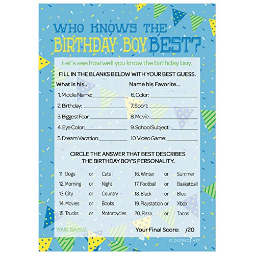 Who Knows The Birthday Boy Best | 10 Game Cards