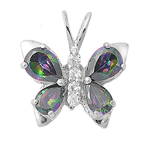 (Oxford Diamond Co Cubic Zirconia & Gemstone Butterfly .925 Sterling Silver Pendant Colors Available (Rainbow Cubic Zirconia))