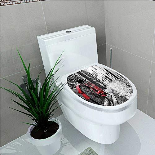 aolankaili Bathroom Toilet Classic Bike on Cobblestone Street in Italian Town Leisure Charm Artistic Photo Red W11 x L13