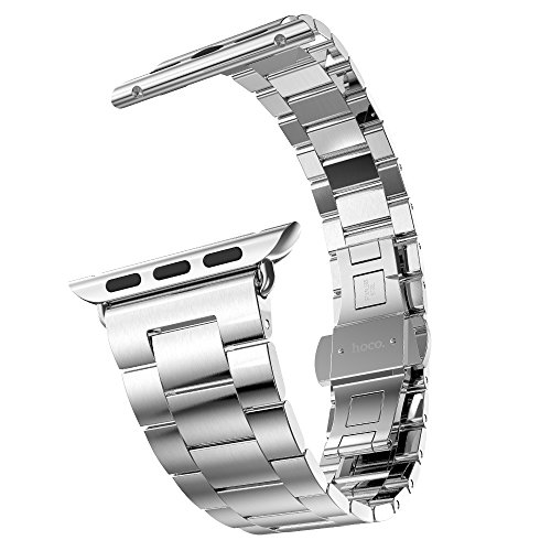 Apple Watch Band, PUGO TOP Ultra-thin (2.0 mm) Solid Stainless Steel Metal Replacement Band for Apple Watch Series 2 Series 1 38mm, Silver