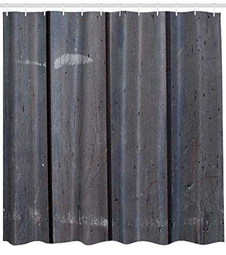 (ASOCO Fabric Shower Curtain Wood Abstract Architecture Board Brown Dark Door Floor Frame Front Bathroom Shower Curtains Resistant Waterproof Set of Hooks 72X78 Inches)