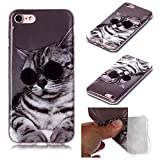 Miagon for iPhone 5S SE 5 Soft Case,Slim Shockproof Animal Pattern Flexible TPU Back Protective Cover Bumper,Glass Cat