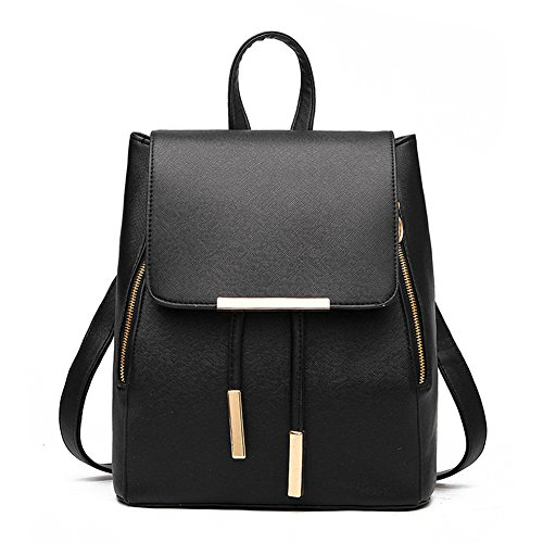 FTSUCQ Womens Leather Preppy Style Backpack Travel Daypack Tote School Bags Shoulder Black Hobos