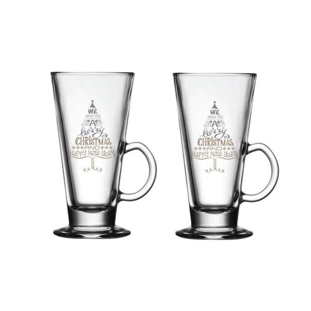 iStyle Set of 2 Glass Latte Glasses with Christmas Tree Xmas Festive Design