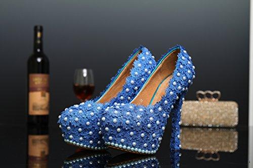 Miyoopark , Semelle compensée femme - Bleu - Blue-14cm Heel, 35
