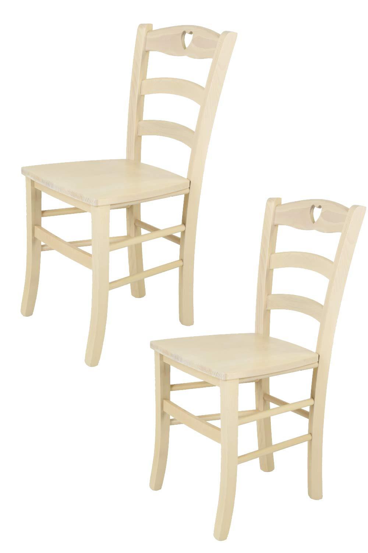 Tommychairs sedie di design - Set 2 sedie classiche CUORE 38 per cucina, bar e sala da pranzo, con robusta struttura in legno color anilina bianca e seduta in legno massello STOCKLINE