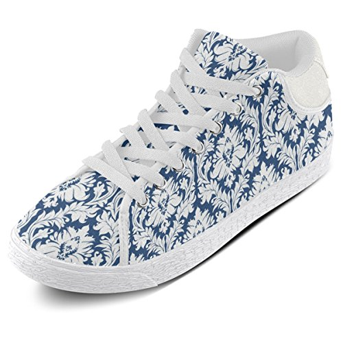 Artsadd and Dark Canvas Chukka Shoes Model003 White Blue Women Damask Pattern For ww6OxrF
